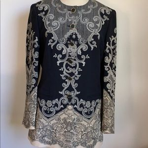 Escada vintage lace pattern silk button up jacket
